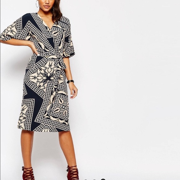 2c85fe22df Asos River Island Printed Kimono Wrap Dress